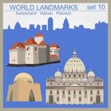 Grupo do ícone dos marcos do mundo Elementos para criar o infographics Imagens de Stock