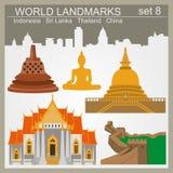 Grupo do ícone dos marcos do mundo Elementos para criar o infographics Foto de Stock