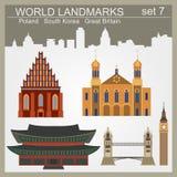 Grupo do ícone dos marcos do mundo Elementos para criar o infographics Foto de Stock Royalty Free