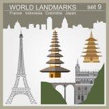 Grupo do ícone dos marcos do mundo Elementos para criar o infographics Fotos de Stock Royalty Free