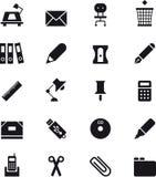 Grupo do ícone dos materiais de escritório Imagens de Stock