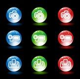 Grupo do ícone dos meios da bola de vidro Foto de Stock