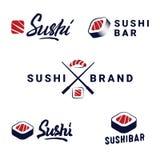 Grupo do ícone dos moldes dos logotipos do sushi ilustração royalty free