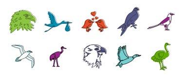 Grupo do ícone dos pássaros, estilo do esboço da cor ilustração do vetor