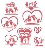 Grupo do ícone dos pais e das crianças ilustração royalty free