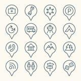Grupo do ícone dos ponteiros do mapa Foto de Stock