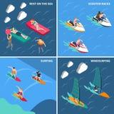 Grupo do ícone dos povos dos esportes de água ilustração do vetor