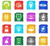 Grupo do ícone dos serviços de sala do hotel Imagens de Stock Royalty Free