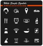 Grupo do ícone dos serviços de sala do hotel Foto de Stock Royalty Free