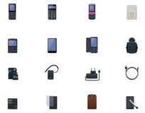 Grupo do ícone dos telemóveis e dos acessórios do vetor ilustração stock