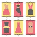 Grupo do ícone dos vestidos das mulheres Fotos de Stock Royalty Free