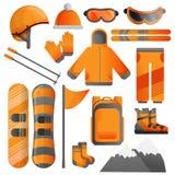 Grupo do ícone do equipamento da snowboarding, estilo dos desenhos animados ilustração royalty free