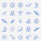 Grupo do ícone do espaço 25 ícones do vetor embalam ilustração stock