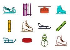 Grupo do ícone do esporte de inverno, estilo do esboço da cor ilustração do vetor