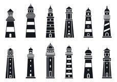 Grupo do ícone do farol da costa, estilo simples ilustração stock