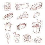 Grupo do ícone do Fastfood Ilustração tirada mão do esboço do alimento da rua ilustração royalty free