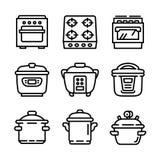 Grupo do ícone do fogão, estilo do esboço ilustração do vetor