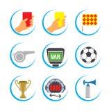 Grupo do ícone do futebol, grupo do ícone do futebol, grupo do ícone do vetor do futebol Fotos de Stock Royalty Free