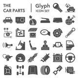 Grupo do ícone do glyph das peças do carro, símbolos coleção dos detalhes do automóvel, esboços do vetor, ilustrações do logotipo ilustração stock