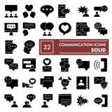 Grupo do ícone do glyph de uma comunicação, símbolos coleção da conversação, esboços do vetor, ilustrações do logotipo, sólido do ilustração stock
