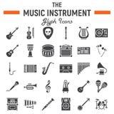 Grupo do ícone do glyph dos instrumentos de música, símbolos audio ilustração stock