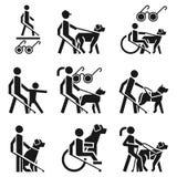 Grupo do ícone do homem cego, estilo simples ilustração do vetor
