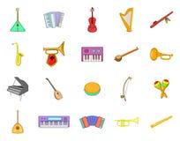 Grupo do ícone do instrumento musical, estilo dos desenhos animados Imagem de Stock Royalty Free
