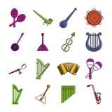Grupo do ícone do instrumento musical, estilo do esboço da cor ilustração stock