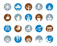 Grupo do ícone do inverno ilustração do vetor