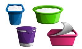 Grupo do ícone do iogurte, estilo dos desenhos animados ilustração stock