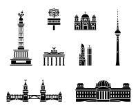 Grupo do ícone do marco de Berlim ilustração royalty free
