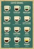 Grupo do ícone do menu do café Tipos das bebidas do café e ristretto da preparação, café, americano, macchiato, latte, cappuccino ilustração do vetor