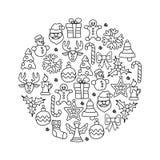 Grupo do ícone do Natal redondo ilustração do vetor