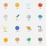 Grupo do ícone do planeta do espaço, estilo liso ilustração stock