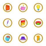 Grupo do ícone do plano de negócios, estilo dos desenhos animados ilustração stock