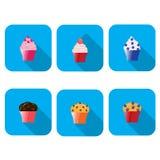 Grupo do ícone do queque do vetor Imagem de Stock Royalty Free