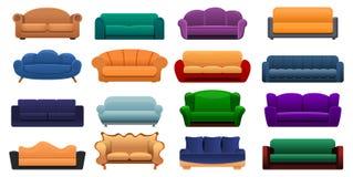 Grupo do ícone do sofá da sala, estilo dos desenhos animados ilustração do vetor