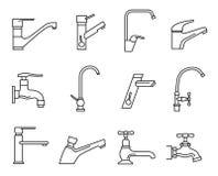 Grupo do ícone do torneira, torneira de água para o dissipador ilustração do vetor