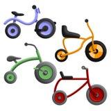 Grupo do ícone do triciclo, estilo dos desenhos animados ilustração royalty free