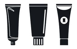 Grupo do ícone do tubo de dentífrico, estilo simples ilustração stock