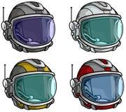Grupo do ícone do vetor do capacete de espaço do astronauta dos desenhos animados ilustração royalty free