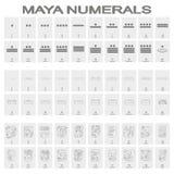 Grupo do ícone do vetor com glyphs dos numerais da cabeça do Maya ilustração do vetor