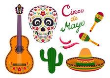 Grupo do ícone do vetor de Cinco de Mayo ilustração stock