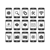 Grupo do ícone do vetor de Smartphone vário ilustração stock