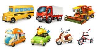 Grupo do ícone do vetor do transporte 3d ilustração royalty free