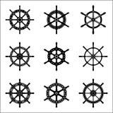 Grupo do ícone do volante do navio Vetor da silhueta Foto de Stock Royalty Free