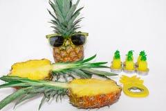 Grupo do abacaxi Dois abacaxis nos óculos de sol, um cortaram o abacaxi, o abridor de lata e as velas na forma dos abacaxis ilustração royalty free