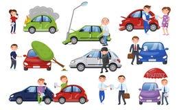 Grupo do acidente de viação e do acidente, ilustração do vetor dos desenhos animados do seguro de carro ilustração stock