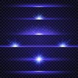 Grupo do alargamento da lente Coleção de efeitos da luz azuis no fundo transparente Luzes, estrelas e sparkles de incandescência  ilustração stock