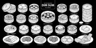 Grupo do alimento chinês isolado da silhueta branca, Dim Sum no menu 22 Mão bonito ilustração tirada do vetor do alimento no plan Fotografia de Stock